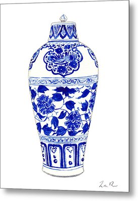 Blue And White Ginger Jar Chinoiserie Jar 1 Metal Print by Laura Row