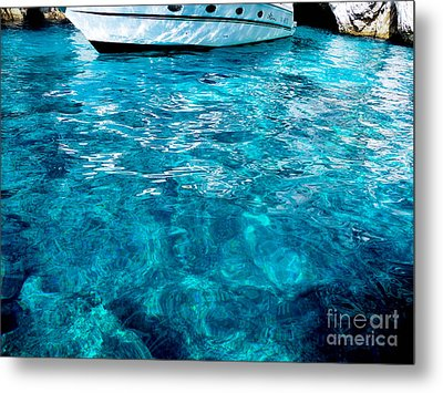 Blue And White Metal Print by Mike Ste Marie