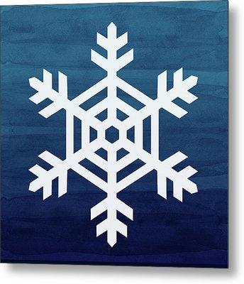 Blue And White Snowflake- Art By Linda Woods Metal Print