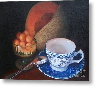 Blue And White Teacup And Melon Metal Print