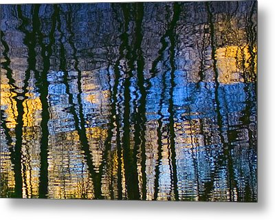 Blue And Yellow Abstract Reflections Metal Print by Pixie Copley