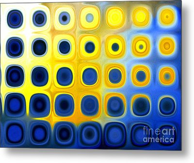 Blue And Yellow Circles  B Metal Print by Patty Vicknair