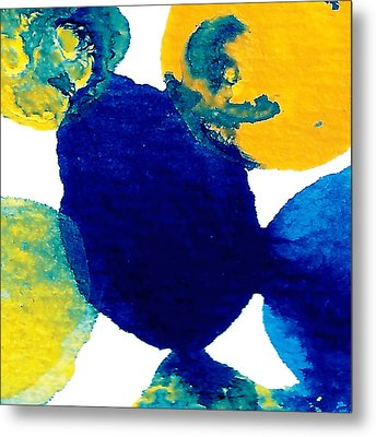 Blue And Yellow Sea Interactions B Metal Print