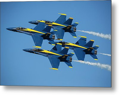 Metal Print featuring the photograph Blue Angels Diamond Formation by Adam Romanowicz