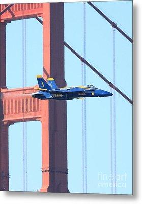 Blue Angels No.1 Crossing The Golden Gate Bridge Metal Print