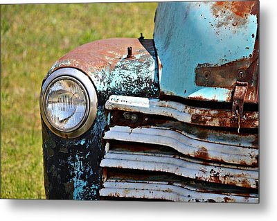 Blue Antique Chevy Grill- Fine Art Metal Print by KayeCee Spain