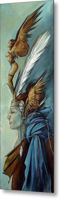 Blue Art Deco Indian Headdress Hood Ornamental Metal Print