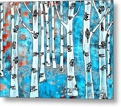 Blue Aspen Tree Metal Print