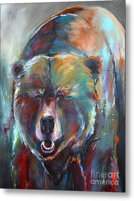 Metal Print featuring the painting Blue Bear by Cher Devereaux