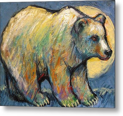 Blue Bear Grizzly Bear In A Full Moon Metal Print