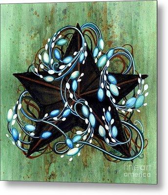 Blue Berries And Cream - Black Star Metal Print by Janine Riley