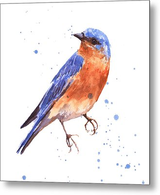 Blue Bird Blue Bird Painting Metal Print by Alison Fennell