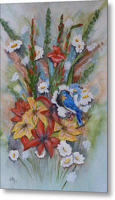 Metal Print featuring the painting Blue Bird Eats Thru The Painting by Kelly Mills