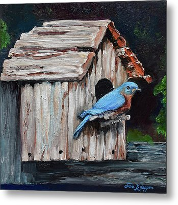 Metal Print featuring the painting Blue Bird On Lake Odom by Jan Dappen