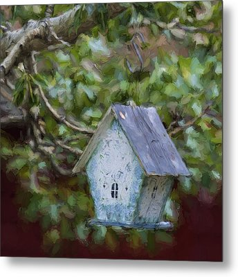 Blue Birdhouse Painterly Effect Metal Print