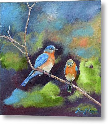 Metal Print featuring the painting Blue Birds - Soul Mates by Jan Dappen