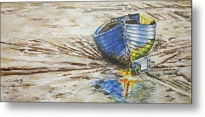 Blue Boat Metal Print by Marty Garland