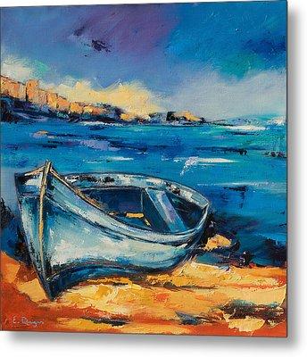 Blue Boat On The Mediterranean Beach Metal Print