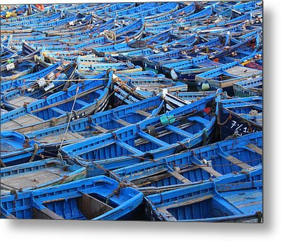 Metal Print featuring the photograph Blue Boats Of Essaouira by Ramona Johnston