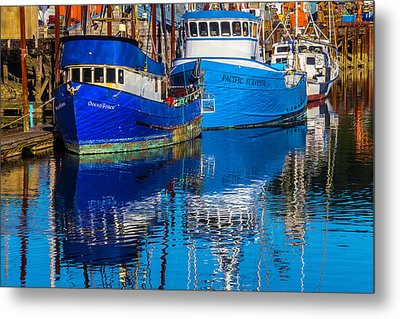 Blue Boats Reflection Metal Print
