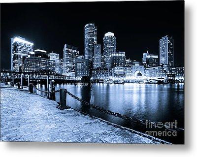 Blue Boston Skyline At Night And Harborwalk Photo Metal Print