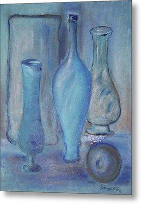 Blue Bottles  Metal Print by Michel Croteau