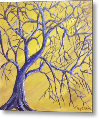 Branches Of Blue Metal Print by T Fry-Green