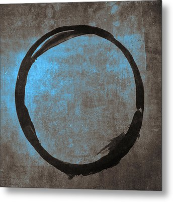 Blue Brown Enso Metal Print