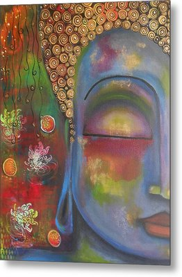 Buddha In Blue Meditating  Metal Print by Prerna Poojara