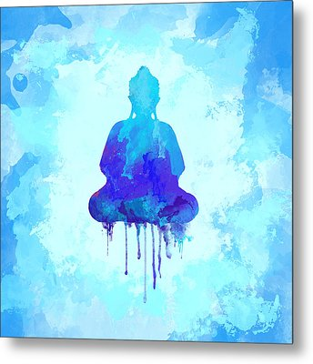 Blue Buddha Watercolor Painting Metal Print by Thubakabra