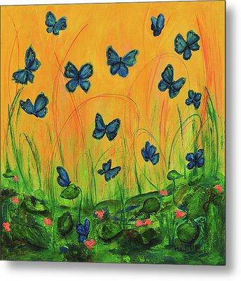 Blue Butterflies In Early Morning Garden Metal Print