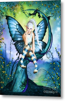 Blue Butterfly Fairy In A Tree Metal Print