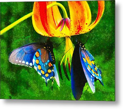 Blue Butterfly In Nature Metal Print by Leonardo Digenio