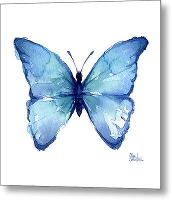 Blue Butterfly Watercolor Metal Print by Olga Shvartsur