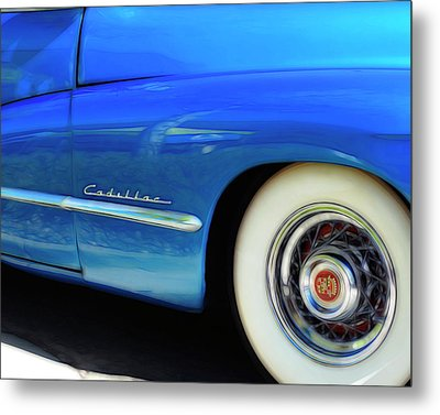 Metal Print featuring the photograph Blue Cadillac - Classic Car by Ann Powell