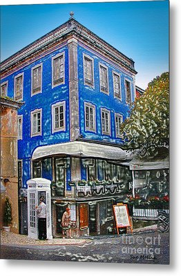Metal Print featuring the photograph Blue Cafe On The Corner by Sue Melvin