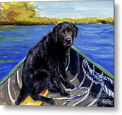 Metal Print featuring the painting Blue Canoe by Molly Poole