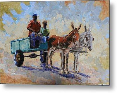 Blue Cart Metal Print by Yvonne Ankerman