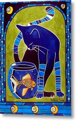 Blue Cat With Goldfish Metal Print