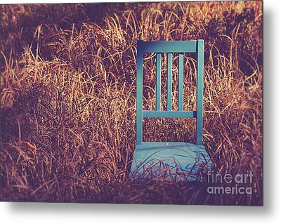 Blue Chair Out In A Field Of Talll Grass Metal Print by Edward Fielding