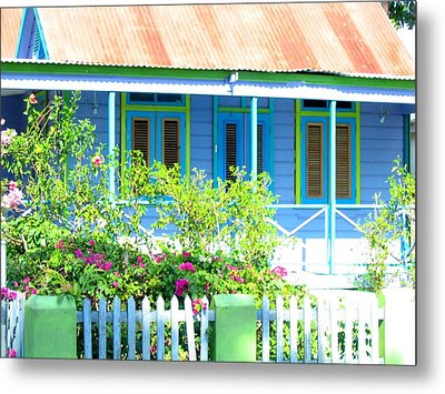 Blue Chattel House Metal Print by Barbara Marcus