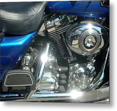 Blue Chrome Metal Print by Katherine Adams