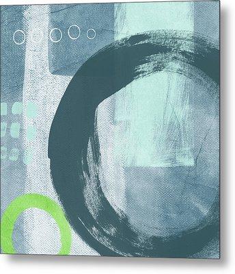 Blue Circles 2- Art By Linda Woods Metal Print by Linda Woods