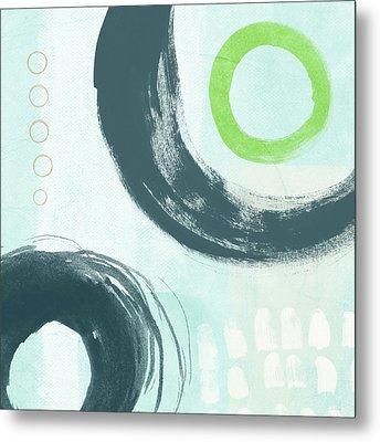 Blue Circles 3- Art By Linda Woods Metal Print by Linda Woods