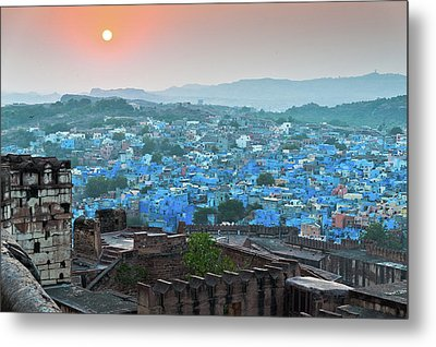 Blue City At Sunset Metal Print by Massimo Calmonte (www.massimocalmonte.it)