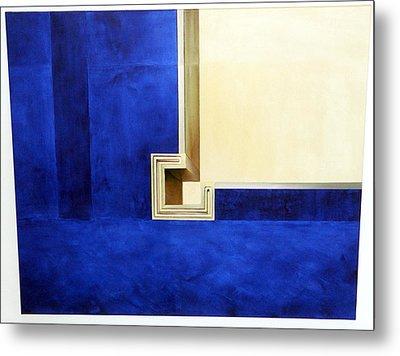Blue Construktion On White Metal Print by Albert Kutzelnig