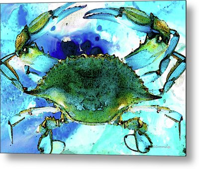 Blue Crab - Abstract Seafood Painting Metal Print by Sharon Cummings
