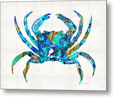Blue Crab Art By Sharon Cummings Metal Print by Sharon Cummings