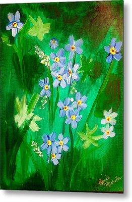 Blue Crocus Flowers Metal Print