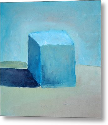 Blue Cube Still Life Metal Print by Michelle Calkins